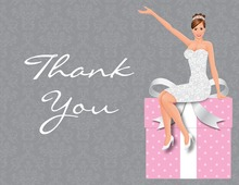 Glamour Brunette Bride Pink Thank You Cards