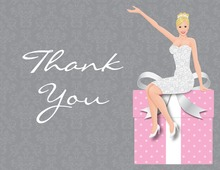 Splendid Blonde Bride Pink Thank You Cards