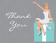 Modern Redhair Bride Teal Thank You Cards