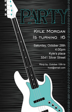Blue Electric Rock Guitar Invitations
