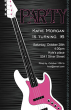Pink Electric Rock Guitar Invitations