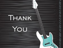 Blue Modern Electric Guitar Thank You Cards