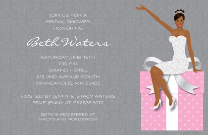 African American Bride Teal Bridal Shower Invites