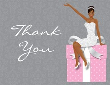 African American Classy Bride Pink Thank You Cards
