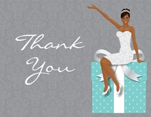 African American Classy Bride Teal Thank You Cards