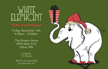 Adorable White Elephant Birthday Invitations