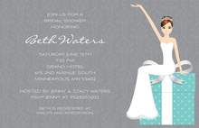Modern Cartoonish Bride Teal Bridal Invitations