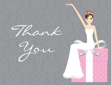 Modern Cartoonish Pink Thank You Cards