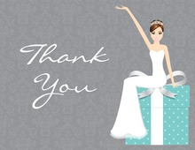 Modern Cartoonish Teal Thank You Cards