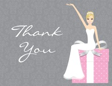 Cute Elegant Blonde Bride Pink Thank You Cards