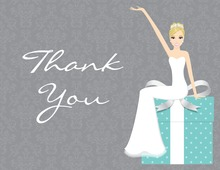 Cute Elegant Blonde Bride Teal Thank You Cards
