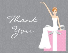 Red Hair Splendid Bride Pink Thank You Cards