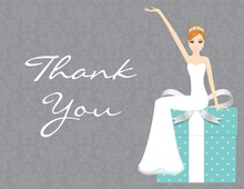 Red Hair Splendid Bride Teal Thank You Cards