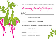 Traditional Magenta Flower RSVP Cards