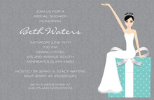 Beautiful Slim Bride On Teal Gift Bridal Invitations