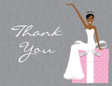 Slim African American Bride Pink Thank You Cards
