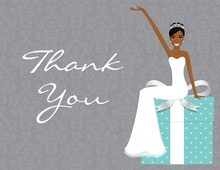 Slim African American Bride Blue Thank You Cards