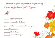 Designer Floral Brown RSVP Cards