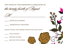 Dainty Floral Brown RSVP Cards