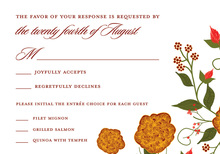 Dainty Holiday Floral Red RSVP Cards