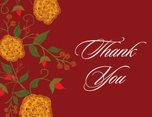 Charming Floral Red Thank You Cards