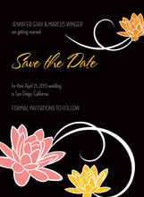 Playful Dainty Floral Modern Black Save The Date Invite