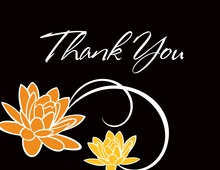 Charming Floral Black Thank You Cards