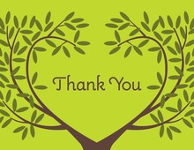 Lovely Tree In Love Green Thank You Cards