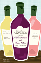 Splendid Three Bottles Wine Shower Invitations
