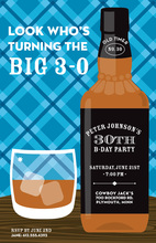 Fun Iconic Drink Ice Whiskey Birthday Invitations