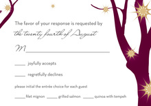 Sparkling Trees Burgundy RSVP Cards