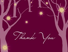 Sparkling Trees Burgundy Thank You Cards