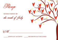 Exquisite Lovely Leaves RSVP Cards