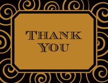 Beveled Edge Gold Swirls Thank You Cards