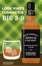 Inspired Whiskey Bottle Green Plaid Invitations