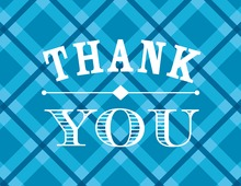Whiskey Bottle Blue Plaid Thank You Cards