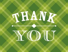 Whiskey Bottle Green Plaid Thank You Cards