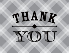 Whiskey Bottle Grey Plaid Thank You Cards