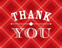 Whiskey Bottle Red Plaid Thank You Cards
