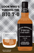 Grey Plaid Whiskey Bottle Birthday Invitations