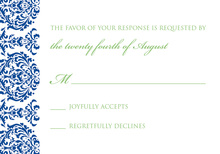 Exquisite Monogram Blue RSVP Cards