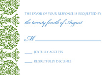 Dainty Monogram Green RSVP Cards