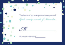 Playful Spray Blue Dots RSVP Cards