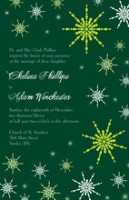 Dainty Snowflakes Green Invitations