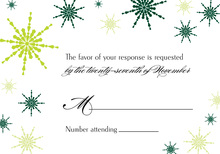 Modern Snowflakes Green RSVP Cards