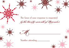 Modern Snowflakes Red RSVP Cards