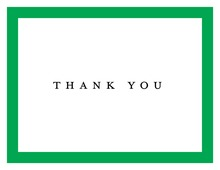 Simple Green Border Thank You Cards