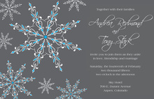 Exquisite Snowflakes Blue Invitations