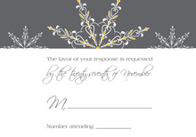 Dainty Snowflakes Yellow RSVP Cards