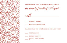 Charming Bold Red RSVP Cards
